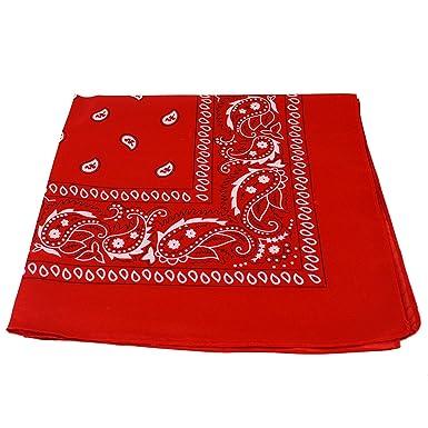 2fdefde37d14 Bandana Foulard Original Paisley Rouge Pur Coton Accessoire Qualité  supérieure 55 x 55 cm