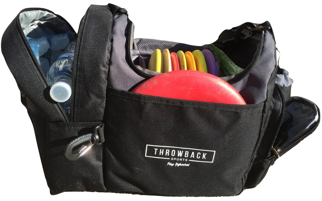 The Throwback Sack - Frisbee Disc Golf Bag with Cooler and Extra Padding, Comfortable Strap - Holds 12 - 15 Discs and 6 Cold Drinks by Throwback Sports