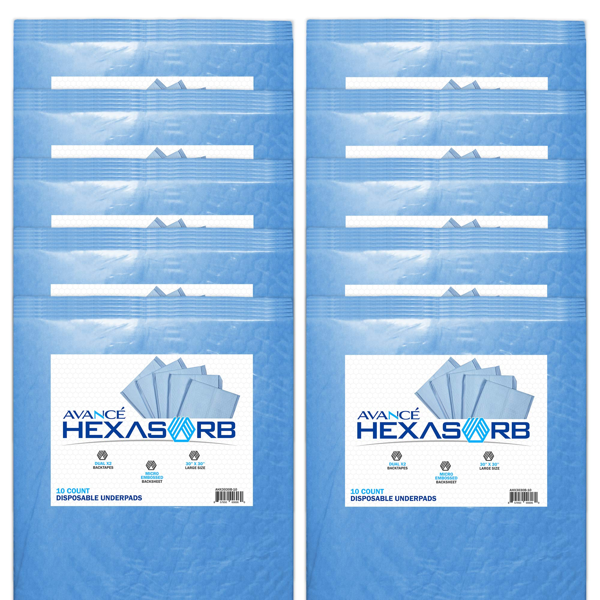 Hexasorb Disposable Underpads 30 x 30 Inch Hospital Blue Heavy Absorbency Quilted Fluff Polymer Core with Dual Peelable Release Tapes, 1800mL Absorption Capacity, 10-Pack (100)