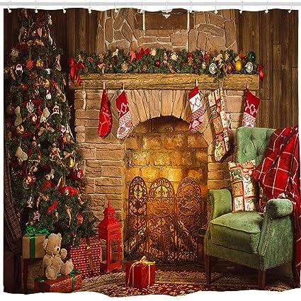 broshan christmas xmas shower curtaincolorful christmas tree with ornaments eve new year season warm