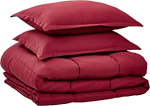 AmazonBasics Comforter Set, Full / Queen, Burgundy, Microfiber, Ultra-Soft