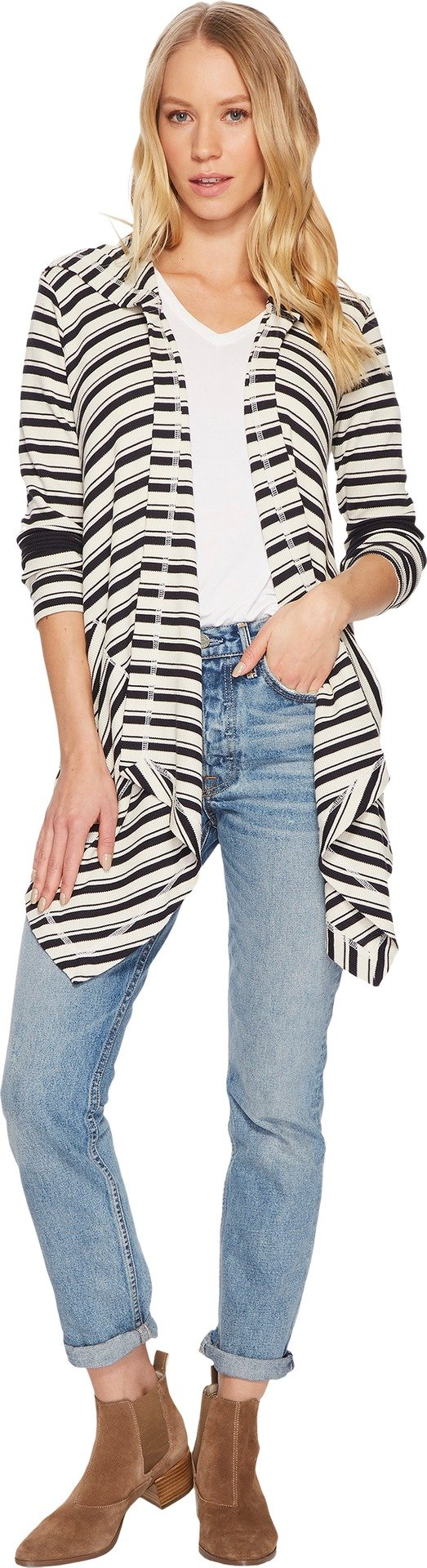 Splendid Women's Long Sleeve Cardigan, Navy Stripe, M