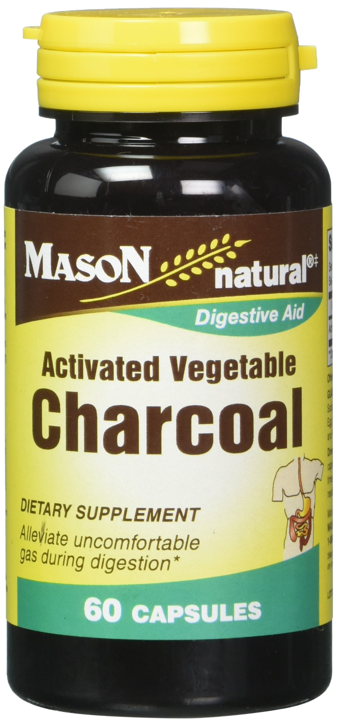 Mason Vitamins Activated Digestive Aid Vegetable Charcoal Capsules, 60 Count