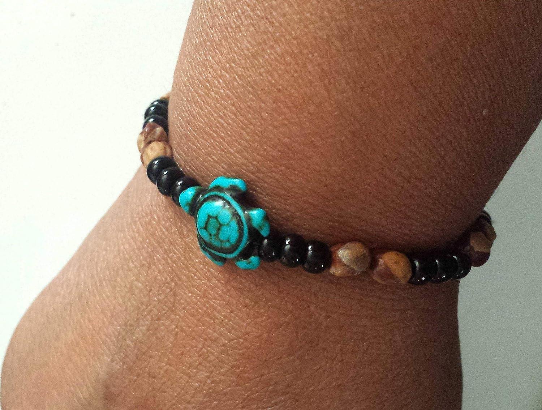 Stretch Ghost Bead Turtle Bracelet