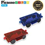 PicassoTiles 2 Piece Car Truck Set w/ Extra Long Bed & Re-Enforced Latch, Magnet Building Tile Magnetic Blocks…