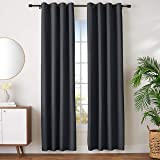 "AmazonBasics Room-Darkening Blackout Curtain Set with Grommets - 52"" x 96"", Black"