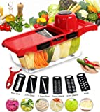 GANKE Professional Mandoline Slicer, Multi-function Vegetable Slicer, Food Slicer Fruit and Cheese Cutter with 6 Interchangable Stainless Steel Blades and Peeler for Cut Potatoes, Tomatoes, Onions, Cheeses, Cucumbers.