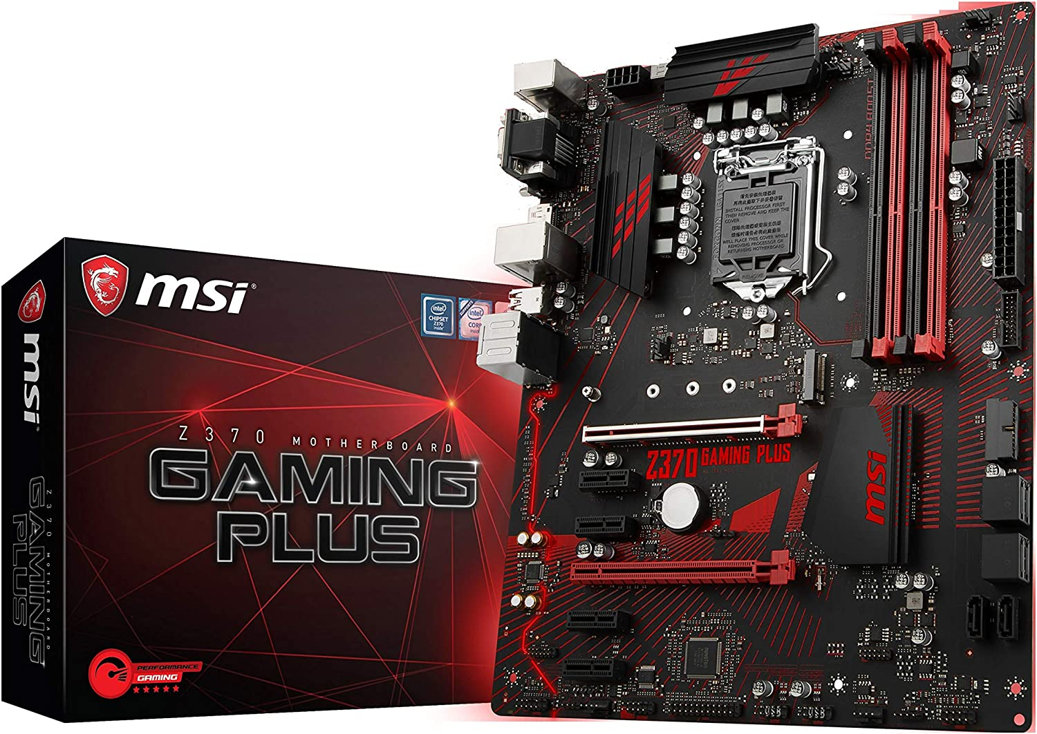 MSI Performance GAMING Intel 8th Gen LGA 1151 M.2 D-Sub DVI DP USB 3.0 Gigabit LAN CFX ATX Motherboard (Z370 GAMING PLUS)