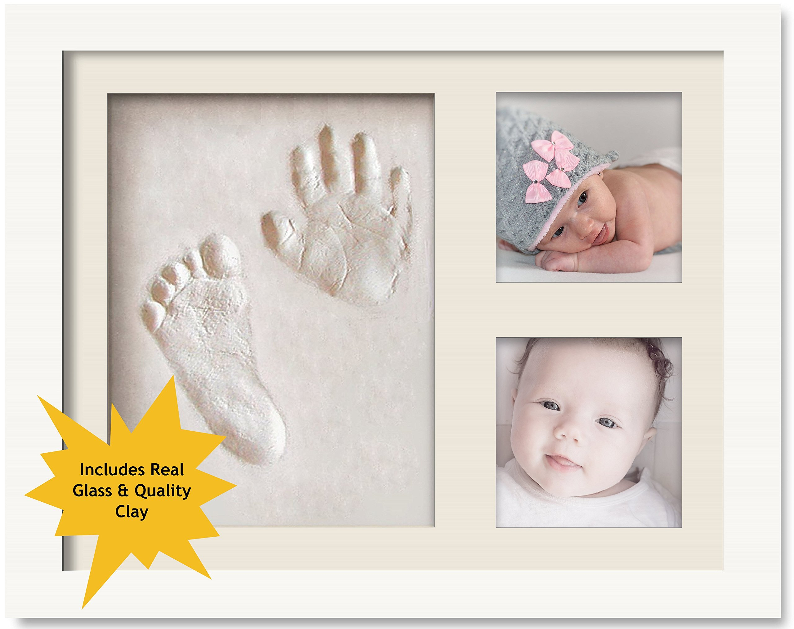 ImpressionMemories Baby Hand and Footprint Picture Frame - Wood Frame Keepsake Kit with Self-Drying Decorative Clay for Baby Handprint & Footprint - Memorable Boy and Girl Gift for Mother's, Father's