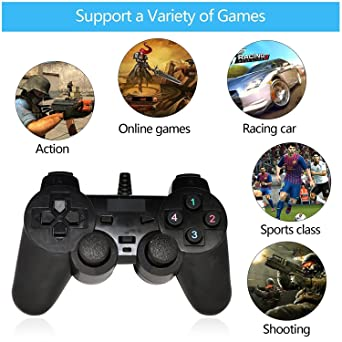 QHMPL 2 Way Vibration USB Gamepad Black For PC Best Price in India