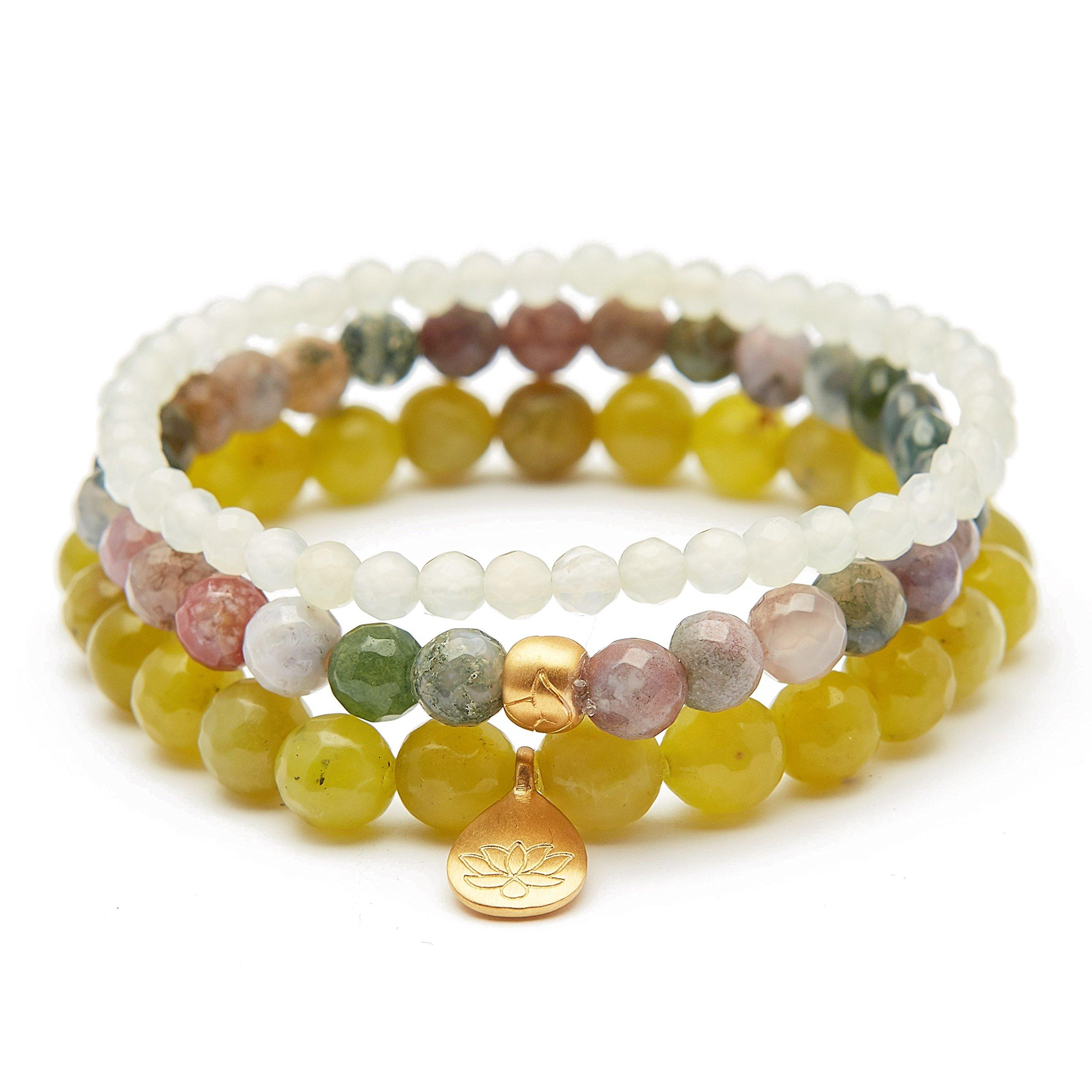 Satya Jewelry Women's Olive Jade Fancy Jasper New Jade Gold Lotus Stretch Bracelet Set, Green, One Size