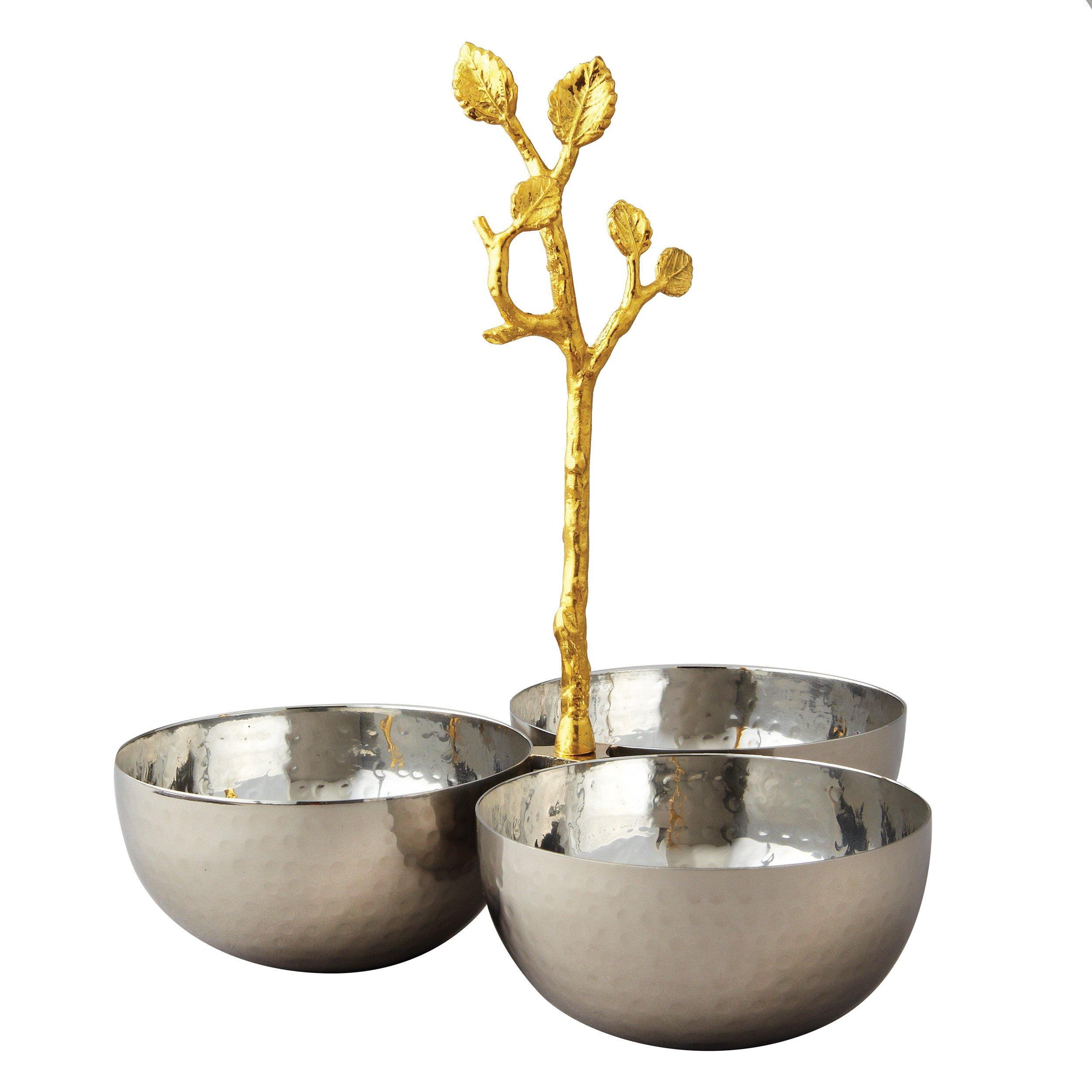 Elegance Golden Vine Hammered Triple Bowl, Silver/Gold by Elegance