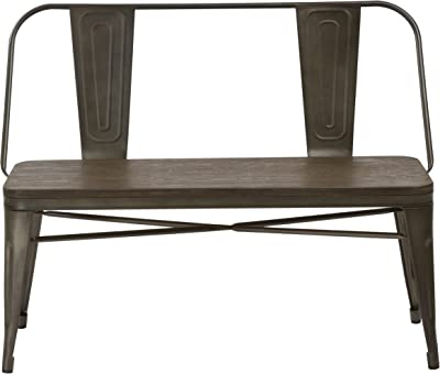 BTEXPERT Industrial Antique Copper Rustic Steel Frame Distressed Metal Dining Bench with Full Back Wood Seat, Bronze Patio Garden