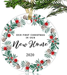 NURIONSS Our First Christmas in Our New Home Ornaments 2020 - Christmas Wedding Decoration Gift for New Home New Homeowner New Apartment - 3