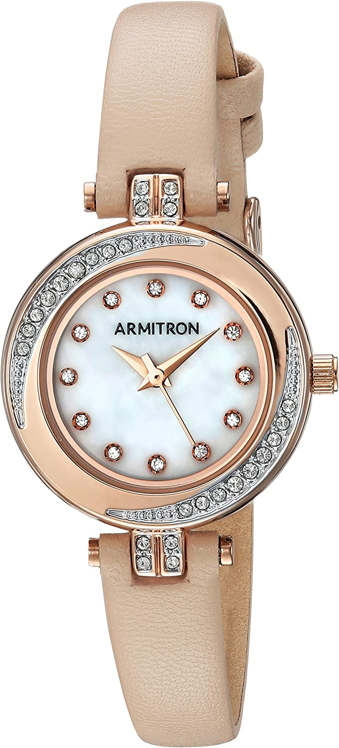 Armitron Women s 75 5542MPRGBH Swarovski Crystal Accented Rose Gold-Tone and Blush Pink Leather Strap Watch