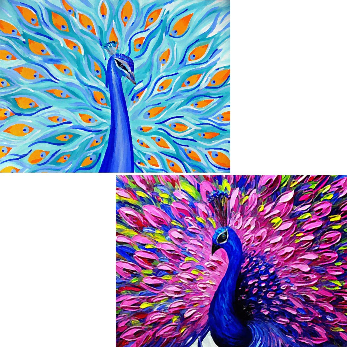 5D DIY Diamond Painting Full Drill Sapphire Peacock by Number Kits, Blue and Purple Peafowl Embroidery Rhinestone Paint with Diamonds Art Pet Cross Stitch Wall Decor (12x16 inch, 2 Pack)