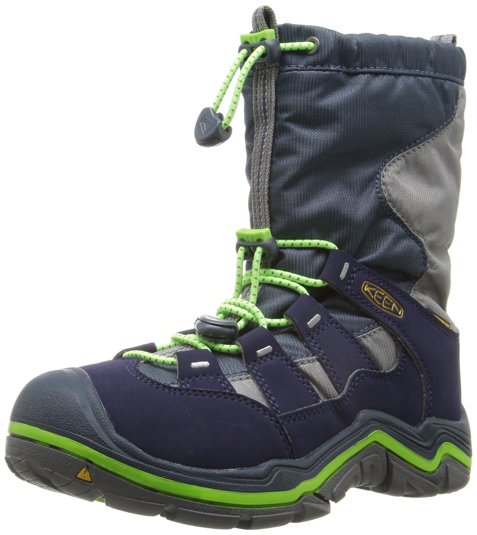 KEEN Kids' Winterport II WP Lace-up Boot, Midnight Navy/Jasmine Green, 2 M US Little Kid