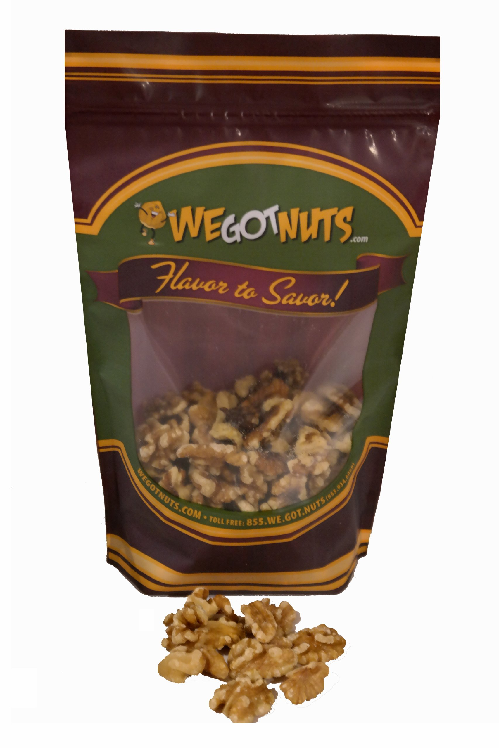 Walnuts, Raw Shelled, Light, Halve and Pieces - We Got Nuts (2 LBS.)