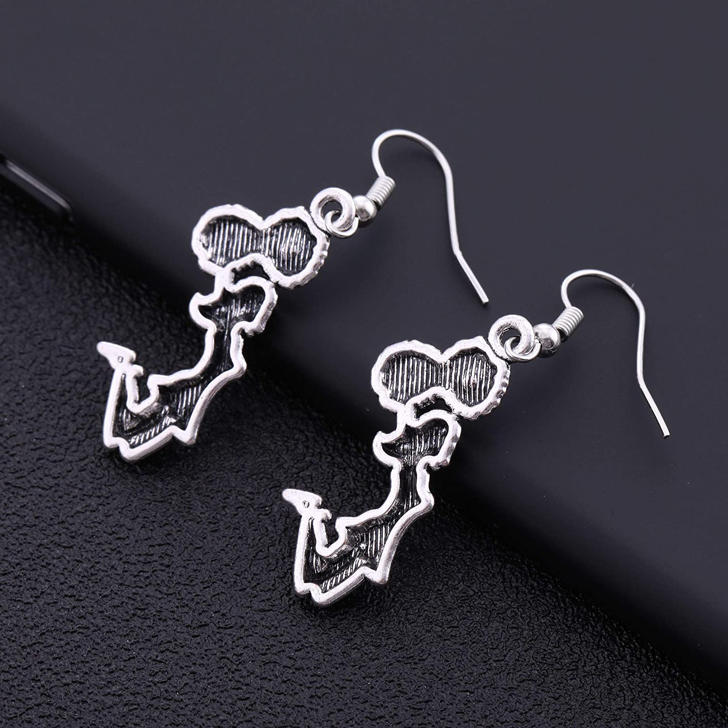 TEAMER Antique Silver Cheerleader Charm Dangle Earrings Cheering Girl Drop Earrings for Teens Girls