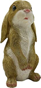 JORAE Standing Rabbit Statue Curious Easter Bunny Outdoor Garden Statues Patio Yard Home Decorations Sculpture Mustard, 8.5 inch, Polyresin