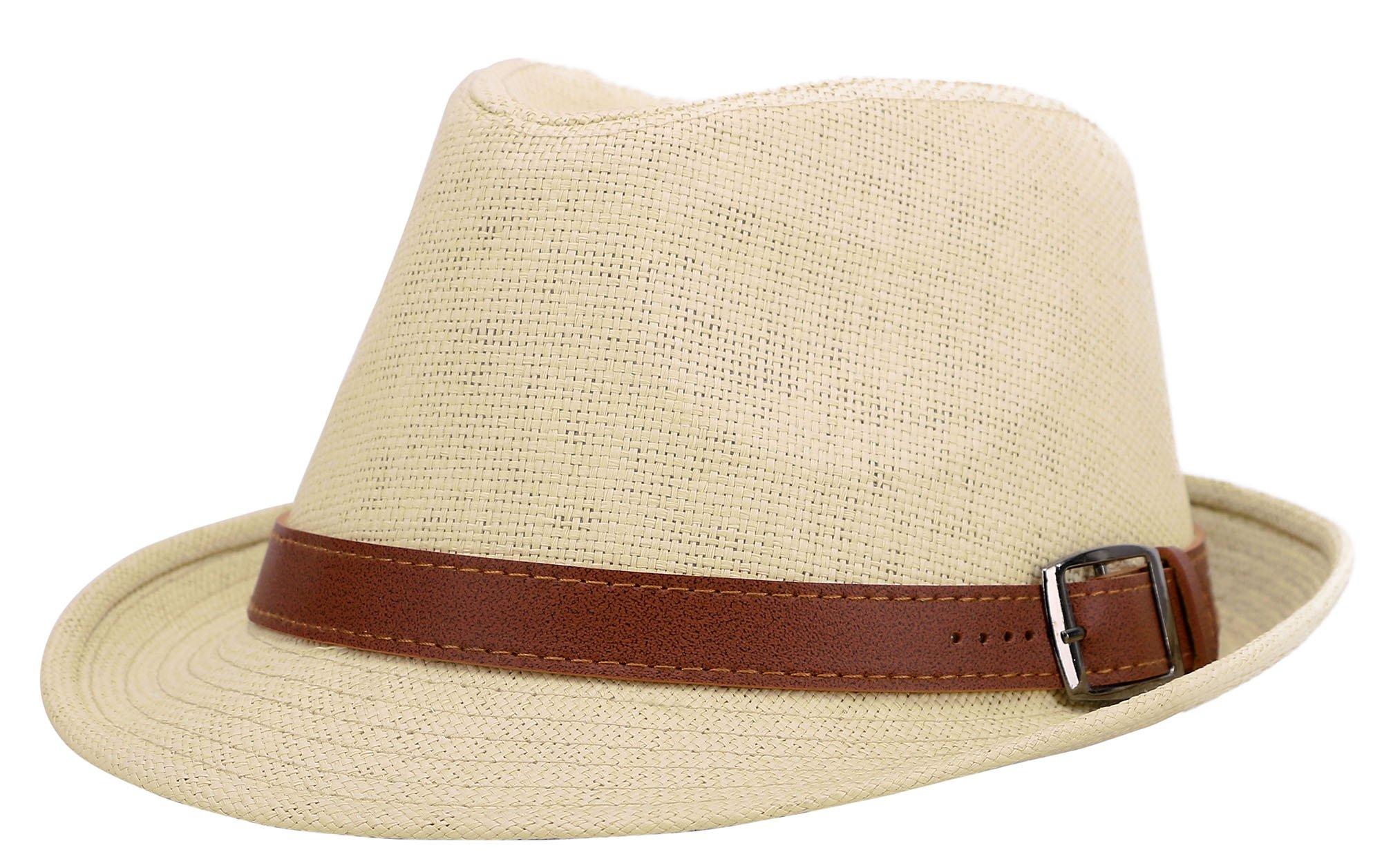 AbbyLexi Women's Summer Straw Panama Triby Sun Fedora Hat w/Belt, Natural, LXL