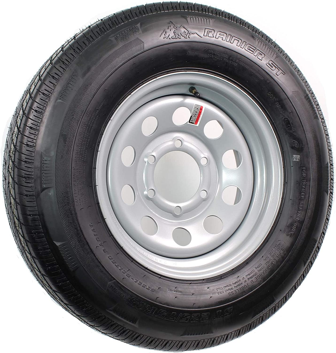 """15"""" Silver Mod Trailer Wheel 6 Lug with Radial ST225/75R15 Tire Mounted (6x5.5) bolt circle"""