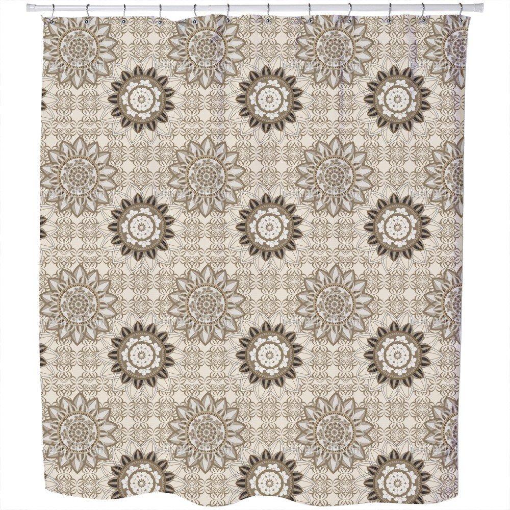 Uneekee Mandala Flower Mix Shower Curtain: Large Waterproof Luxurious Bathroom Design Woven Fabric
