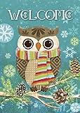 "Morigins Cute Owl Christmas Holly Winter Double Sided Garden Flag 12.5""x18"""