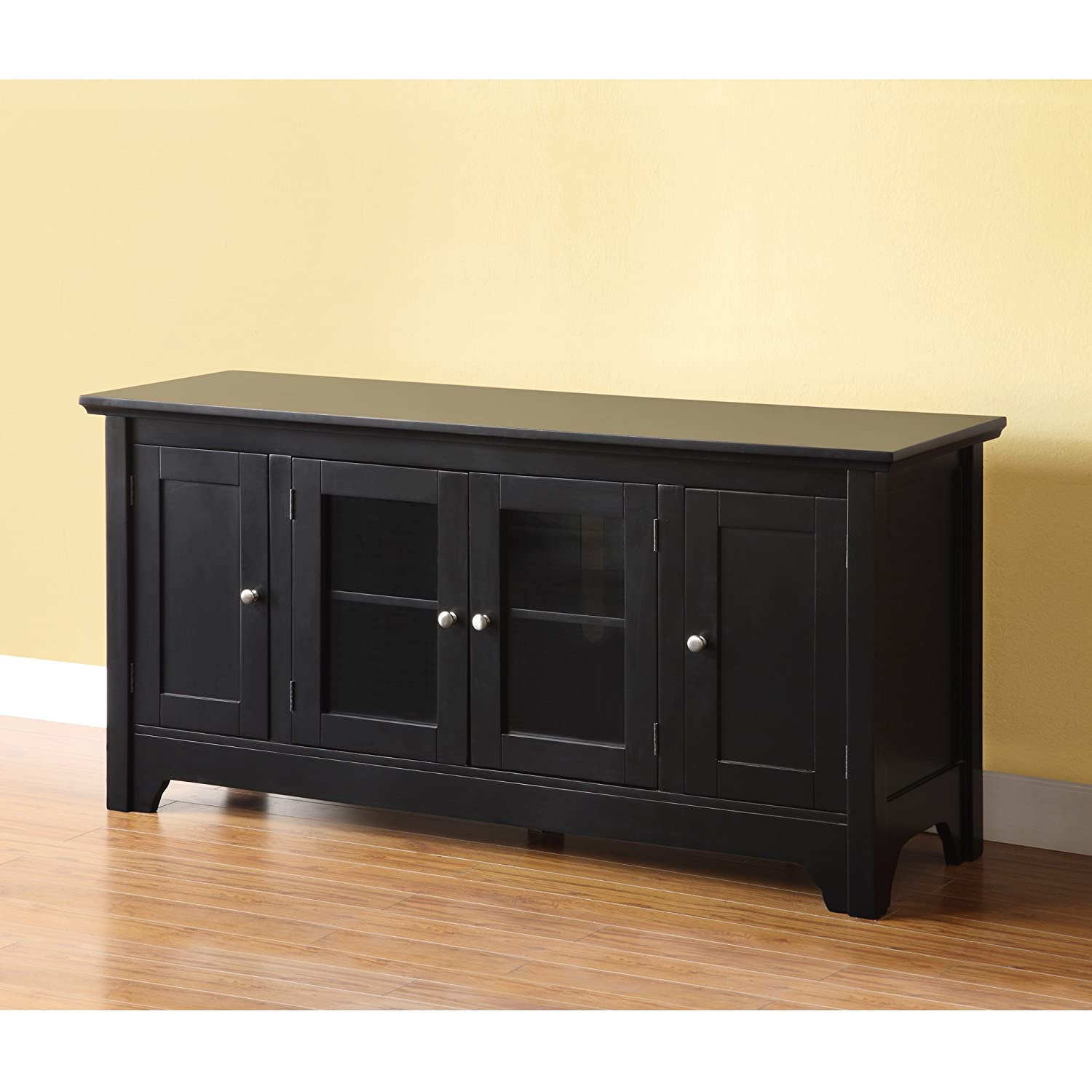 Tv Stand Black Amazoncom Walker Edison 53 Wood Tv Stand Console With Storage