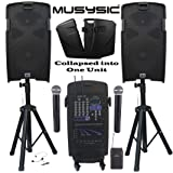 "MUSYSIC M-Port PA2K 2000W Portable PA System 2x10"" Speakers Dual UHF Wireless Mic Rechargeable Battery Bluetooth"