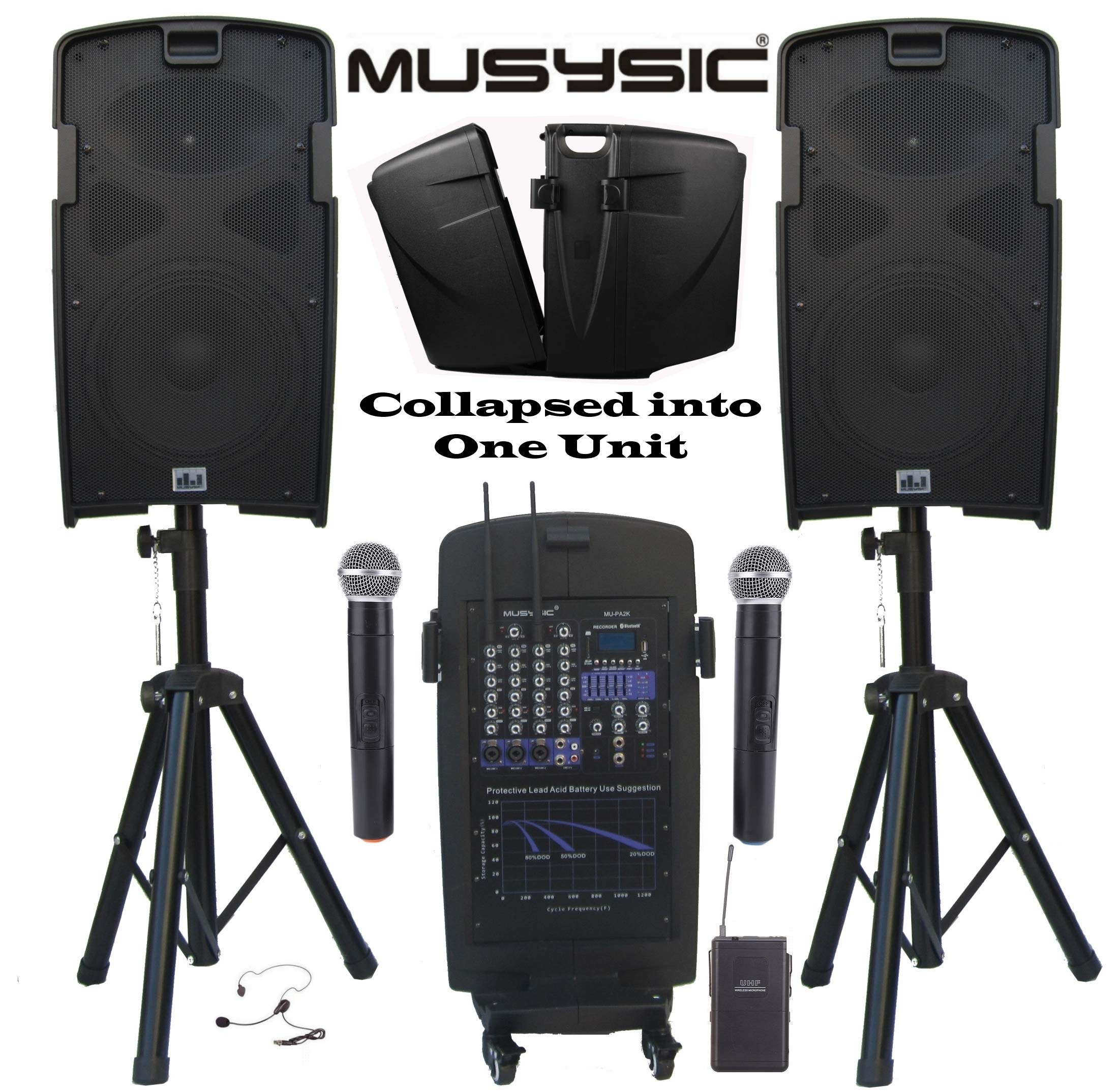 MUSYSIC M-Port PA2K 2000W Portable PA System 2x10'' Speakers Dual UHF Wireless Mic Rechargeable Battery Bluetooth