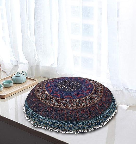 AAKARSHAN - Cojín de meditación para el Suelo con Mandala ...