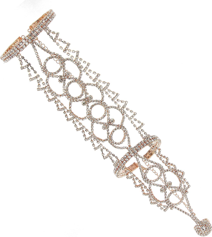 SP Sophia Collection Boho Filigree Wedding Bridal Arm Cuff Armlet Bracelet and Ring Fashion Rhinestone Body Jewelry