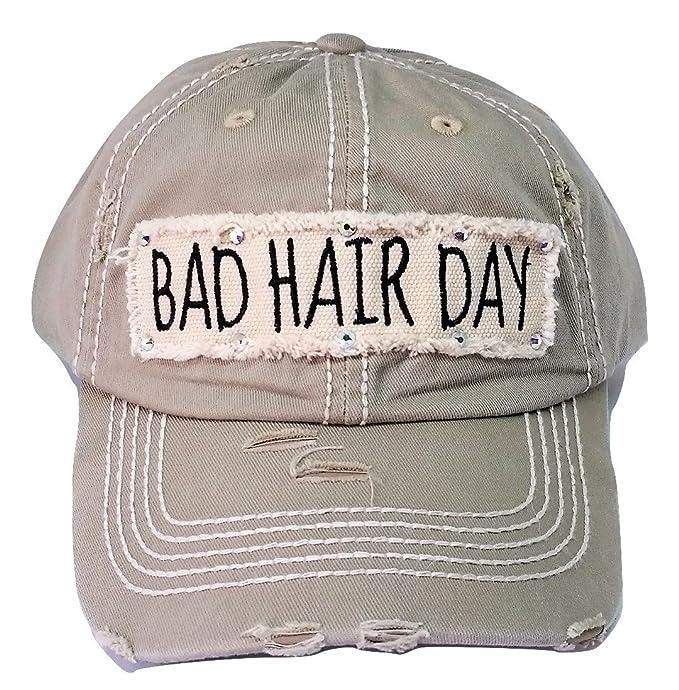 1f279fa1b374 Loaded Lids Women's Bad Hair Day Bling Baseball Cap (Khaki) at ...