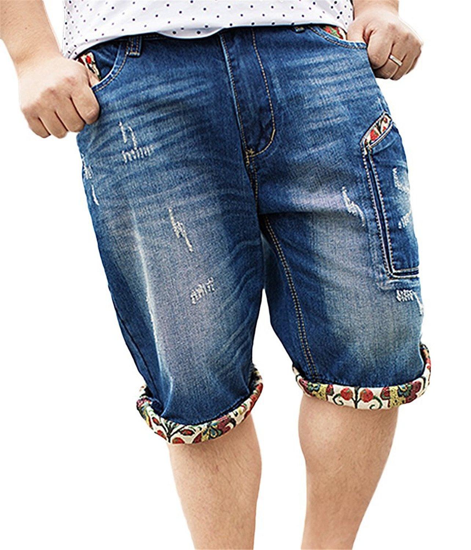 Roberoody Handsome Men's Fashion Print Hip Hop Ripped Bleached Mid Waist Denim Shorts Blue 329930