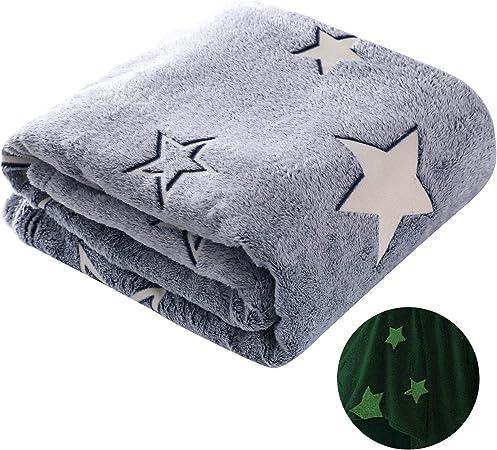 Pink Unicorn Kids Glow in the Dark Fleece Blanket Throw 100 x 150cm Grey Stars