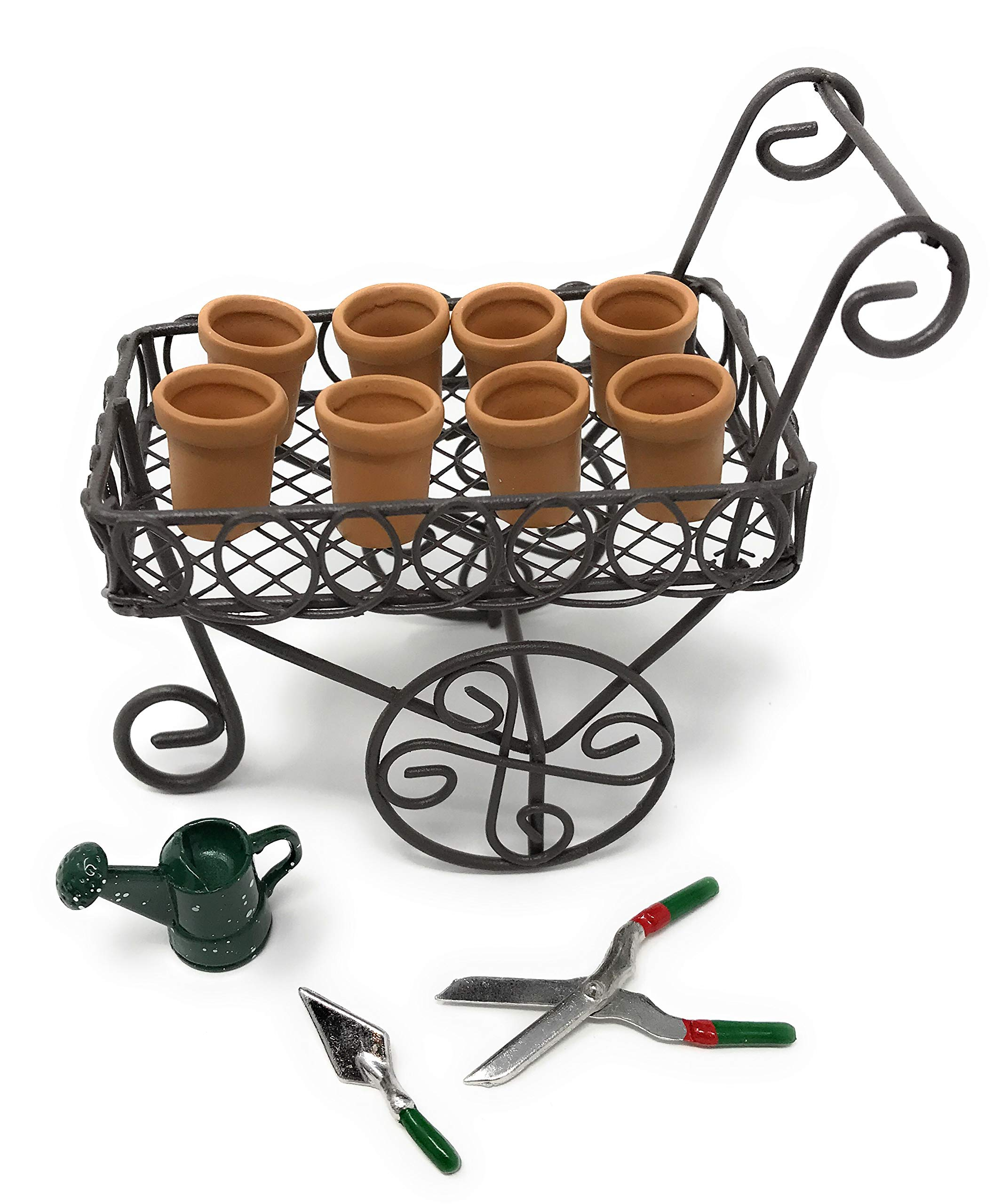 Myoan Brand Miniature Fairy Garden Accessories Bundle with 1 Pull Cart, 8 Resin Clay Pots, 1 Watering Can, 1 Spade and 1 Garden Trimmer (12 Items)