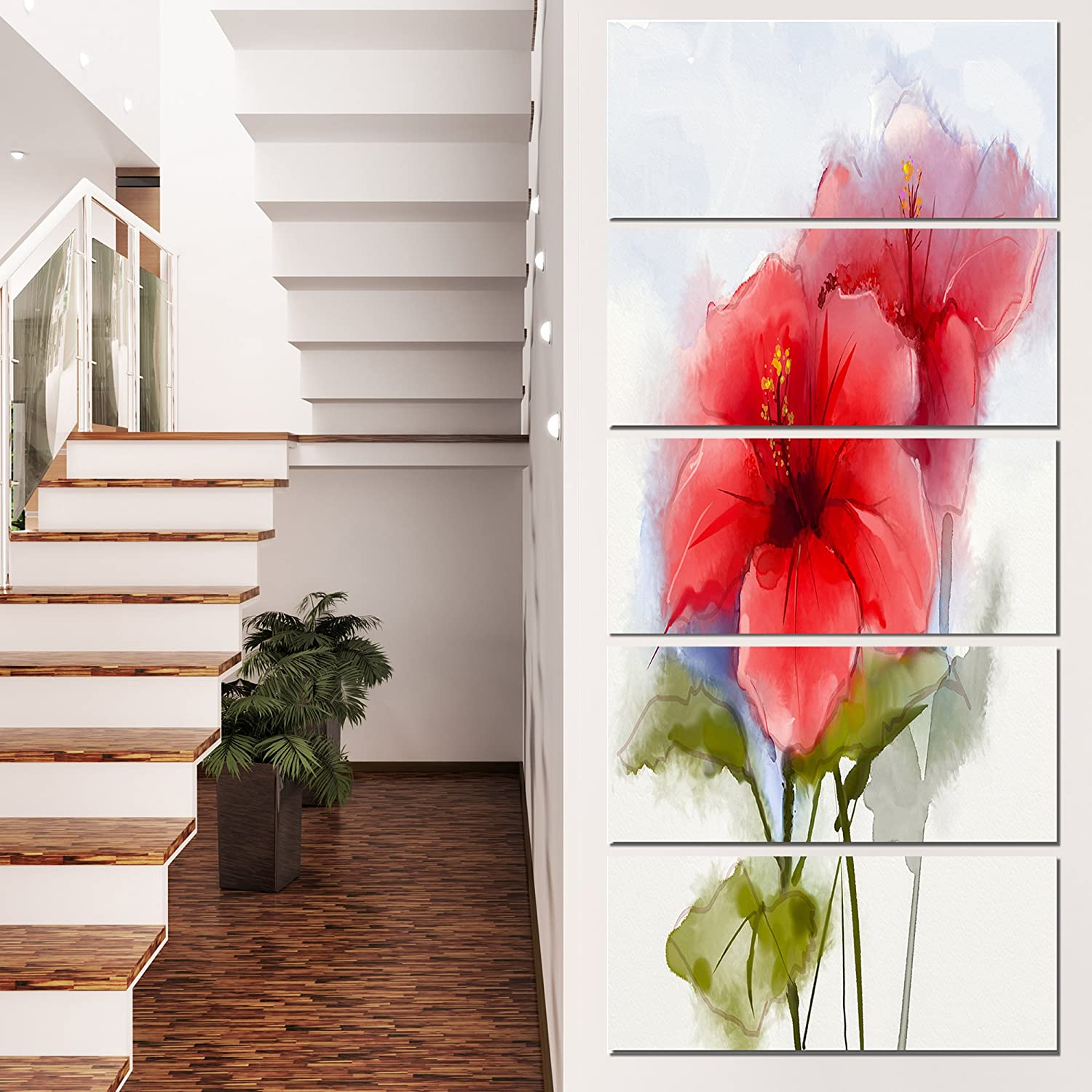 Designart Watercolor Painting Red Hibiscus Flower Wall Art Canvas 16x32