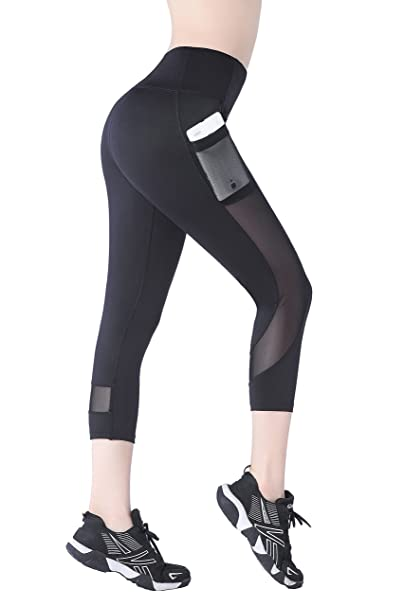 b4c846a6f22ad9 EAST HONG Womens Mesh Capri Workout Yoga Pants Running Tights Active  Leggings (S.Black
