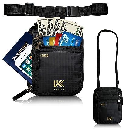 80706905b45a Klott 2-way RFID Travel Pouch/Hidden Travel Wallet. Slim Neck Pouch, Money  Belt, Waist Stash in 1. Anti-theft Passport Wallet