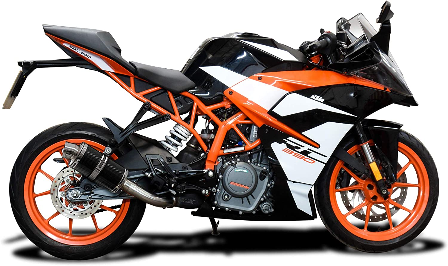 Delkevic Aftermarket Slip On compatible with KTM 390 Duke RC390 DS70 9 Carbon Fiber Oval Muffler Exhaust 17-20