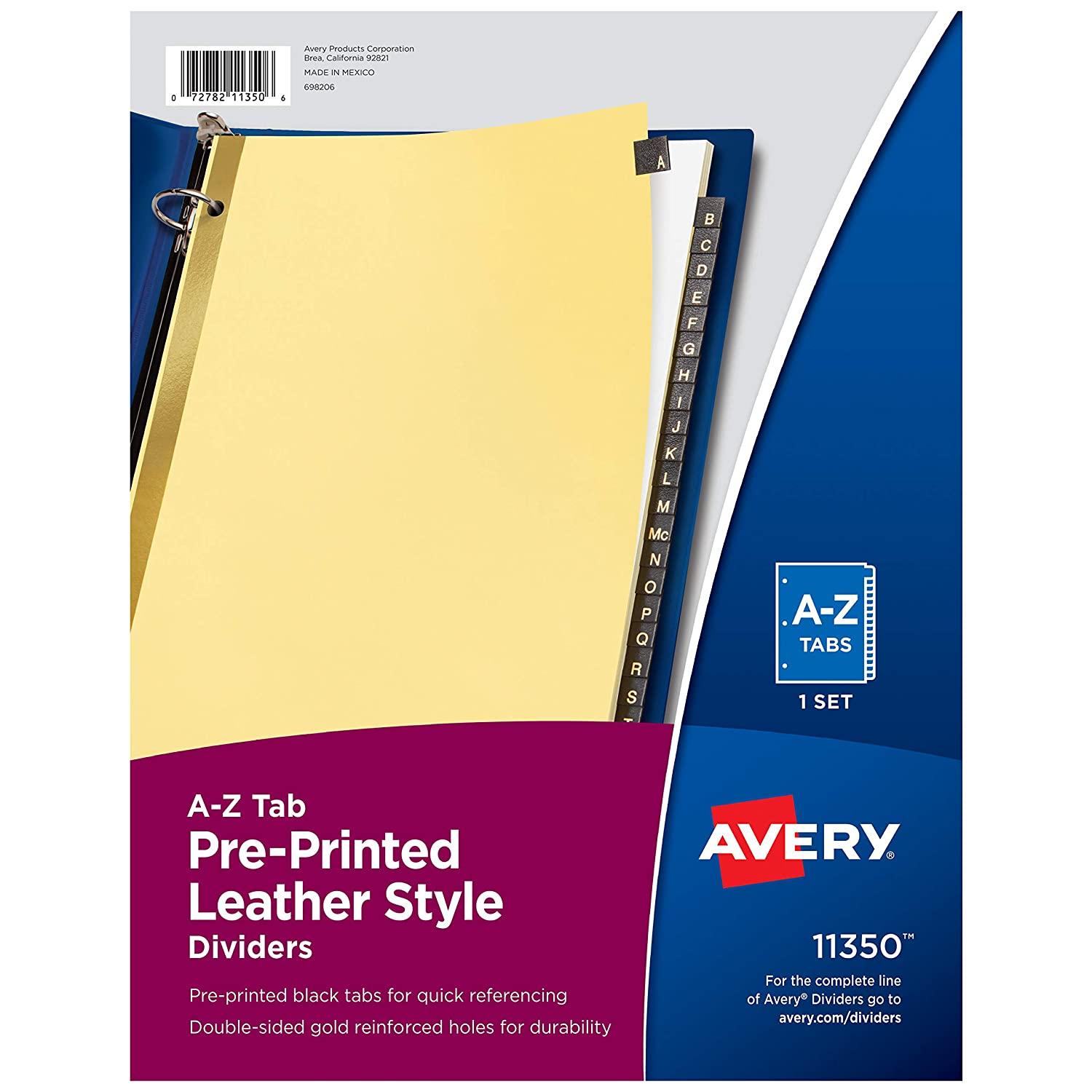 Avery A-Z Tab Binder Dividers, Pre-Printed Black Leather Style Tabs, 25-Tab, 1 Set (11350)