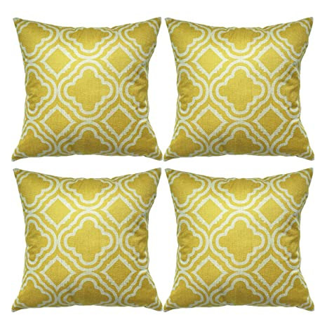 Luxbon Conjunto de 4 Fundas Cojín Almohada Lino Duradero Figura Geométrica Amarillo Decorativos para Sofá Cama Coche 45x45 cm