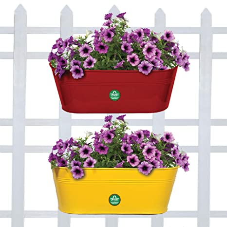 Trust basket set of 2 - oval railing planters - Red and yellow Hanging Planters at amazon