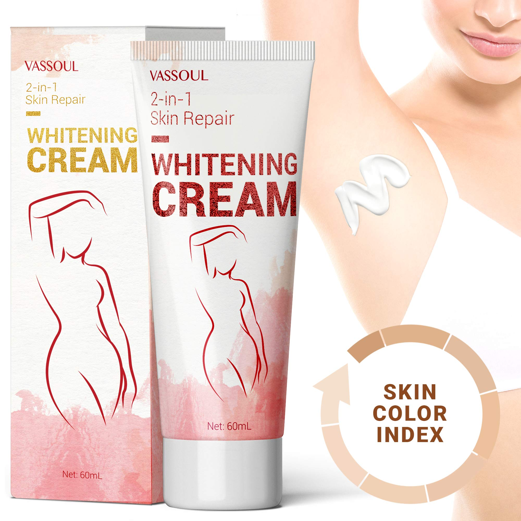 Vassoul Skin Underarm Whitening Cream - Lighten & Brighten Armpit, Bikini, Elbow, Private and Sensitive Areas (60mL)