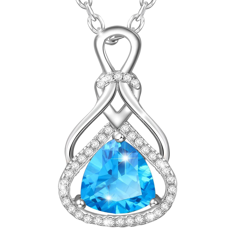 MARENJA Regalo San Valentín Collar Mujer de Moda Colgante Azul Celeste de