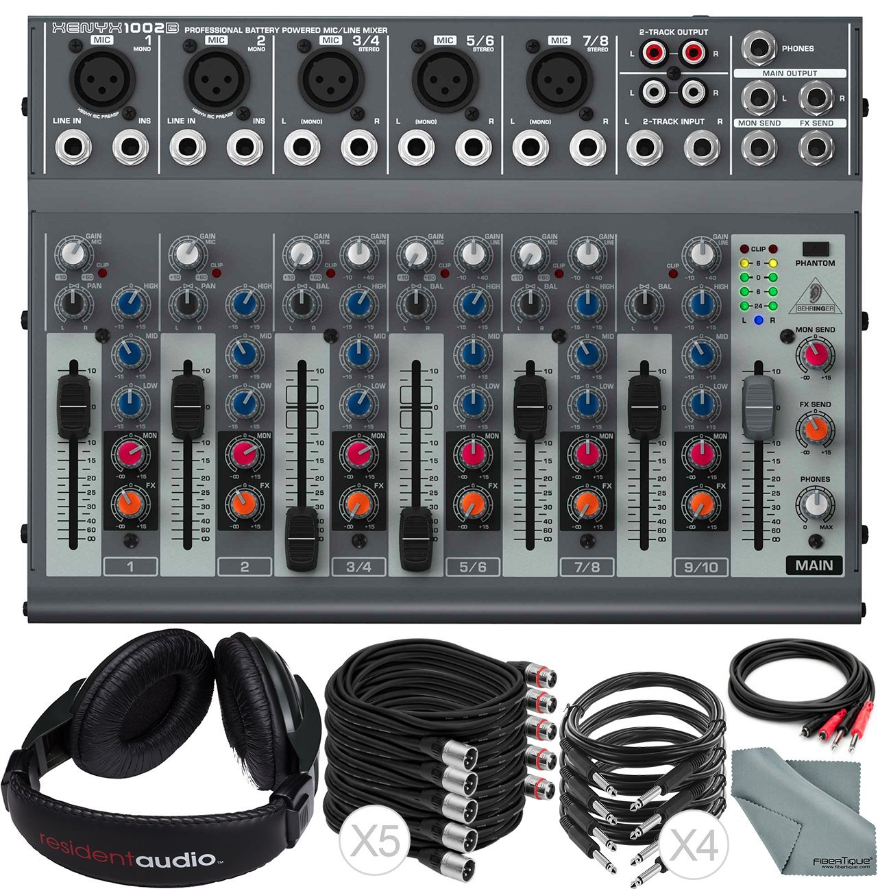 Behringer XENYX 1002B 10-Channel Audio Mixer and Accessory Bundle with 10X Cables + Closed-Back Headphones + Fibertique Cleaning Cloth