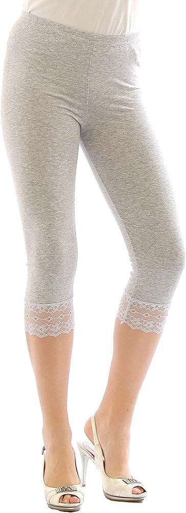 YESET Capri 3/4 Leggings Cordón algodón Leggings Borde Encaje Pantalón Ropa Mujer - Gris Claro, XXXL: Amazon.es: Ropa y accesorios