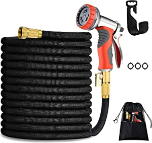 150FT Expandable garden hose-Strongest water hose with Double Latex Core, 3/4