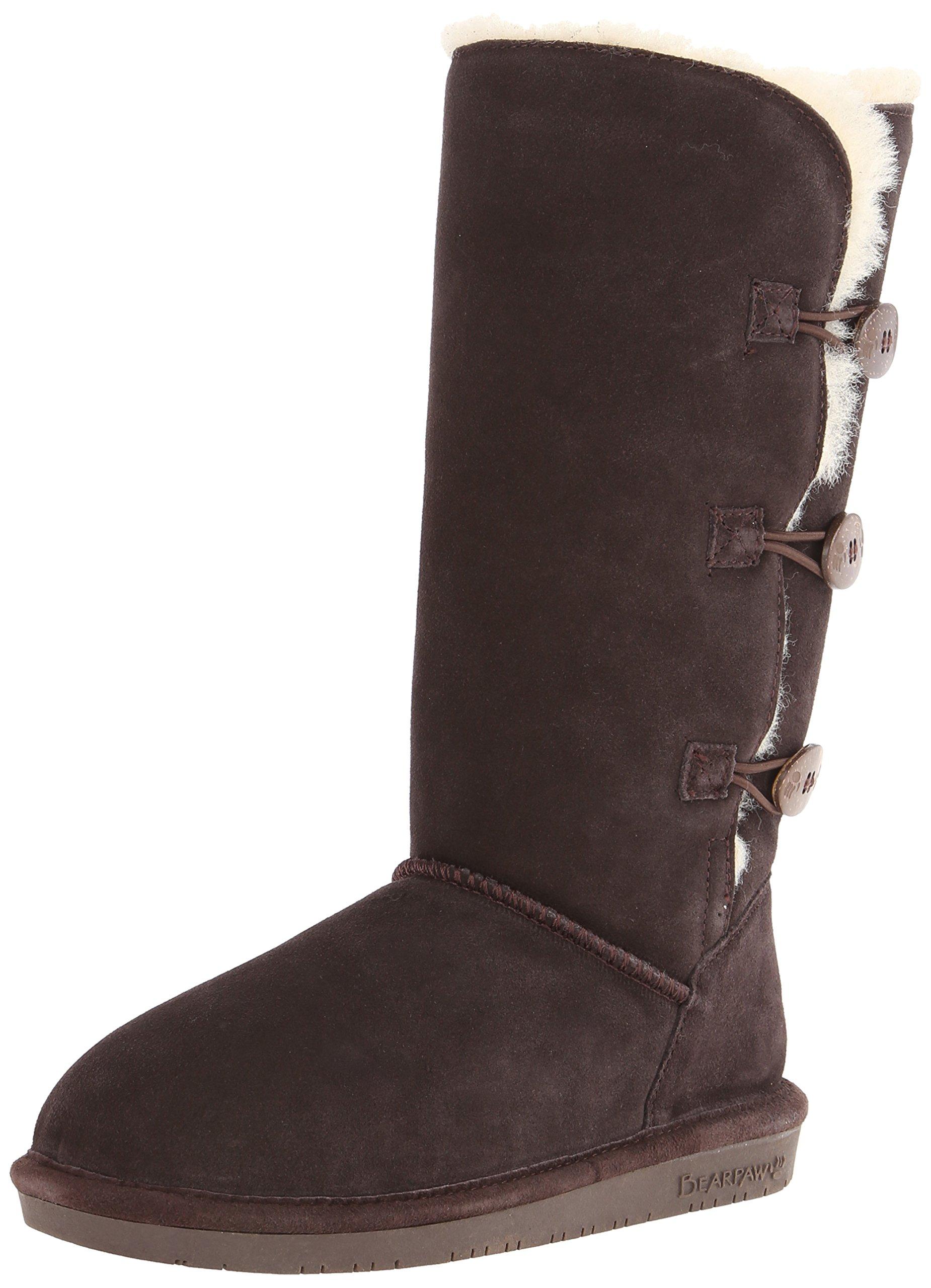 BEARPAW Women's Lauren Tall Winter Boot, Chocolate, 7 M US